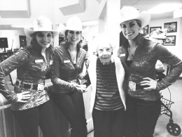 Steph, Shannon, and I with 102 year old Grace at Canyon Meadows Retirement Residence. Grace was born the same year as the inaugural Calgary Exhibition and Stampede event.