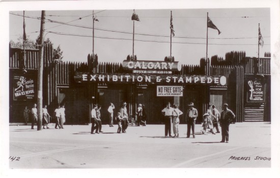 The Calgary Stampede flying the Union Jack and Red Ensign, 1955.