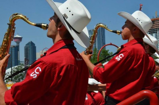 The Showband performs for huge crowds on the Saddledome Steps twice each day during the Calgary Stampede.