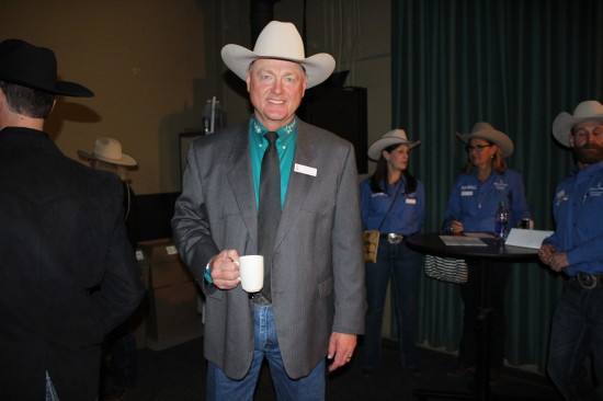 Les McIntyre, World Professional Chuckwagon Association track announcer, kicked off the 2015 Canvas Auction