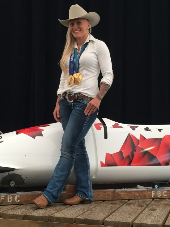 Pictured: Kaillie Humphries,   native Calgarian, two-time Olympic gold medalist, 2014 Lou Marsh Award winner for Canada's top athlete and 2015 Calgary Stampede Parade Marshal!