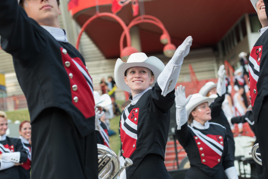 The Showband entertains crowds twice daily with a 45-minute set at the Saddledome Steps during the Calgary Stampede. Photo credit: Pat Johnston