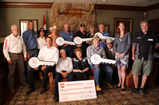 This year's Stampede Champions are Paul Allred (Rotary Dream Home), Mike Burnyeat (Truck & Fifth Wheel), Ken Pierson (Truck & Boat), Mike Moore (Truck & Toys), Kevin Willerton (Corvette Stingray), Lal Perera (GMC Yukon), Andrew Pike (Harley-Davidson), Frances Henrickson (Split'em 50/50 - $242,055 Cash), Marty & Gloria Jurgens (Early Bird Winner - 2015 Chevrolet Camaro Coupe 1LT) and Linda & Paul Thomas (VIP Prize Winner - $10,599)