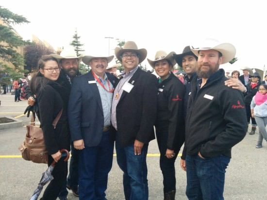 Ted Haney, Calgary Stampede board of director, his Worship, Mayor Naheed Nenshi and Calgary Stampede Community Projects & Development committee