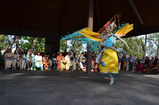 Shawl Dancing demonstration at the Indian Village closing ceremony