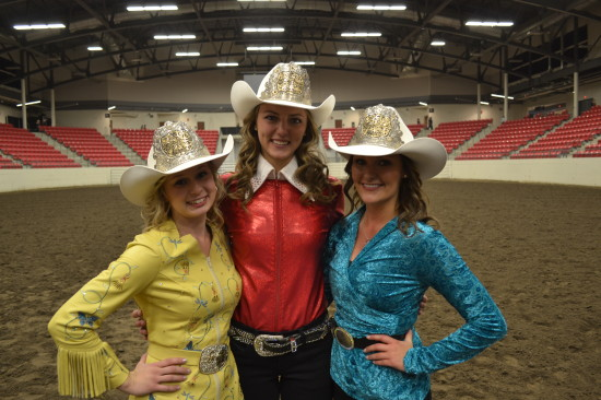 206 Calgary Stampede Queen, Maggie Shorrt (middle), and Princesses, Chelsey Jacobson (left) and Bailee Billington (right) immediately following the crowning ceremony.