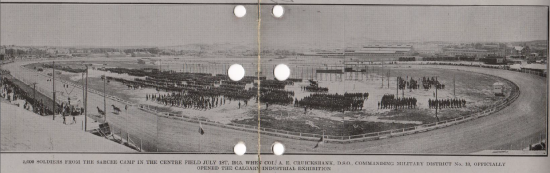 1915 exhibition annual report_men from sarcee camp lined up opening exhibition_military
