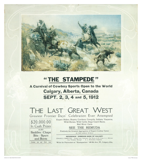 Celebrated American artist Charlie Russell provided the artwork for the first Stampede poster in 1912.