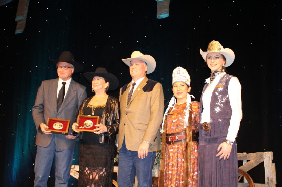 Pictured: Steve Snyder, M. Ann McCaig, Bill Gray, Indian Princess Vanessa Stiffarm and Stampede Queen Maggie Shortt