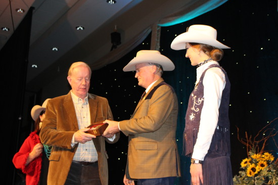 Sandra Clarkson, Western Legacy Awards committee chair, Ron May, president & chairman Bill Gray and Stampede Queen Maggie Shortt