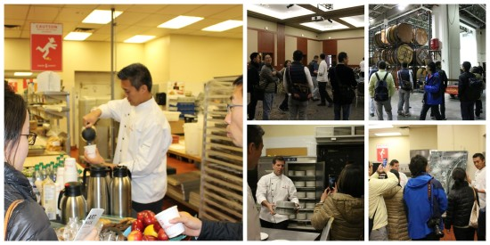 Pictured: (L) chef Kwong demonstrating western hospitality; (top centre and R) tours of the Palomino Room and back of house areas; (bottom center) chef Dale shows how 150 plates are transported from the kitchens to the event spaces in our warmer boxes; and (bottom R) a brief overview to give our guests an idea of how large Stampede Park is
