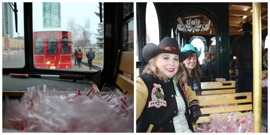 The best way to spread Christmas cheer, is singing loud for all to hear…from aboard the Stampede trolley! Pictured: (front) Kate Thrasher, Calgary Stampede board member and Stampede employee, Shirley Voth