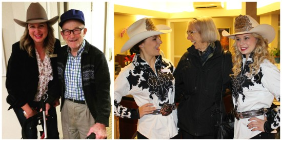Pictured: (L) Kathryn Konoff, Stampede employee, and John, community member; (R) Stampede Princess Bailee, a Chartwell Royal Park resident and Stampede Princess Chelsey