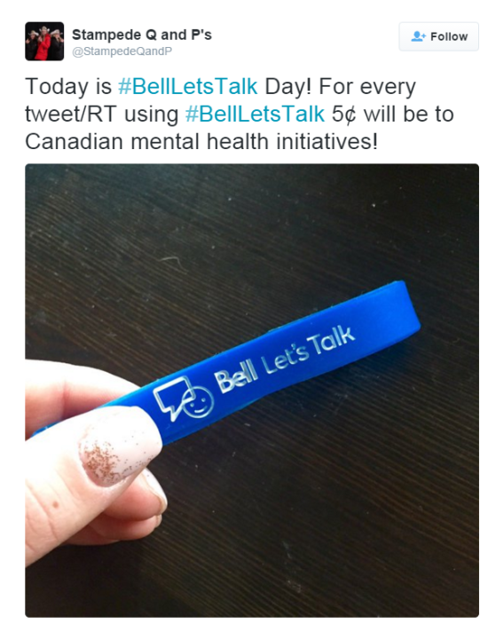 Calgary Stampede Queen and Princesses share their support of #BellLetsTalk on Twitter.