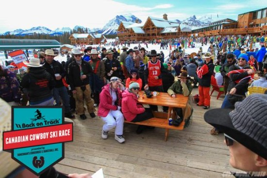 Picture perfect weather for a party on the patio at Lake Louise