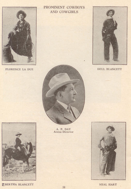 A page from the 1912 program highlighting some of the stars that came to compete at the Stampede, Flores LaDue and Bertha Blancett among them.