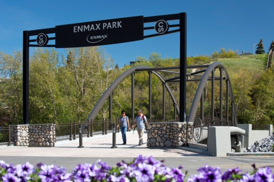 The bridge connects Stampede's ENMAX Park to its main land, across the Elbow River. Photo by Roy Ooms.