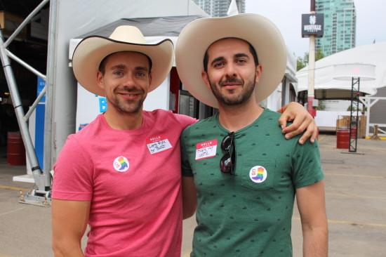 Adam Burlock (L) with Alex Garcia (R) sporting their Stampede stickers.