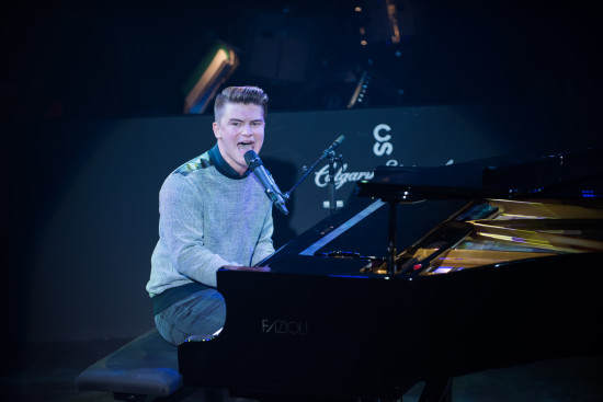 "Sam Lundell performing ""Break it to her Gently"", by Burton Cummings on Friday night's semi-finals. (Photo credit: Benjamin Laird Arts & Photo)"