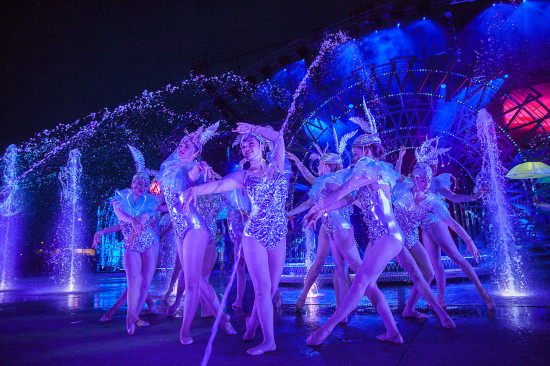 The Young Canadians of the Calgary Stampede performing in the Grandstand Show incorporating water in the show