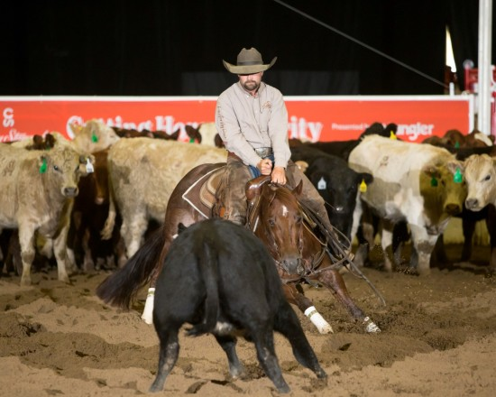 Dustin Gonnet on RPL Cat N Around, owned by Ronald Patton of Nanton, Alberta