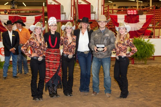 Calgary Stampede Western Elite Rider, Travis Rempel, with the Calgary Stampede Royalty and Western Performance Horse committee member