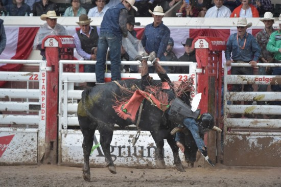 Night Moves tosses Sage Kimzey into the mud at the 2016 Calgary Stampede