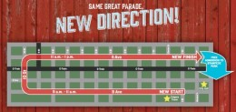 The new Stampede Parade route, starting at Ninth Ave. and First St. SE, and finishing at Sixth Ave. and Third St. SE.