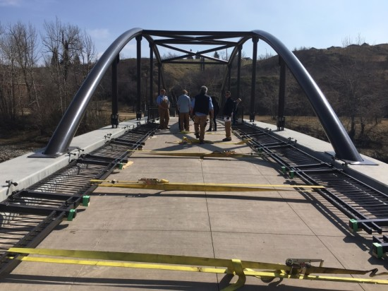 Railings successfully lowered on the Stampede's newest bridge