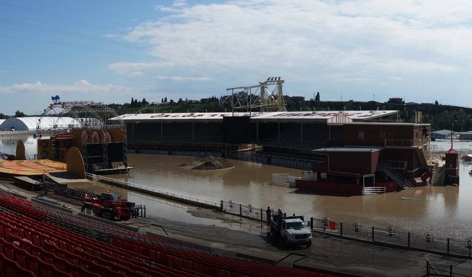 A Panorama Of Flood Waters In The Grandstand And Infield Area